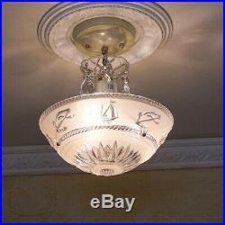151b Vintage 40s Nautical Maritine Ceiling Light Fixture Chandelier 3 pink