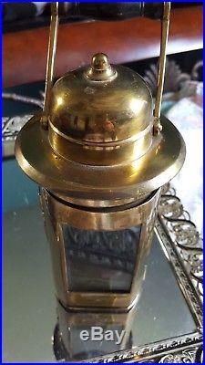 1943 Vintage Carriage Brass Kerosene Light Wood Handle Very Old