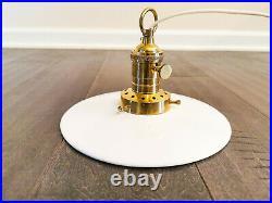 1990s Vintage Brass Ceramic Flat Shade Pendant Light / Retro Industrial Lamp 8