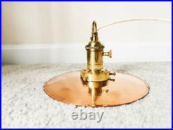 1990s Vintage Copper Brass Flat Shade Pendant Light / Retro Industrial Lamp 8