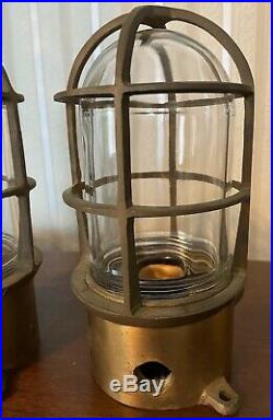 2 Vintage Bronze Cage Glass Globe Explosion Proof Lights Nautical