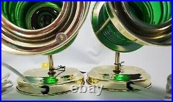 2 Vintage Nautical Green Lens Brass Sconce Ship Lantern Wall Light Lamp Train
