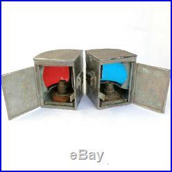 2 Vintage Port & Starboard Boat Ships Metal Lanterns Lights Red & Blue Lens