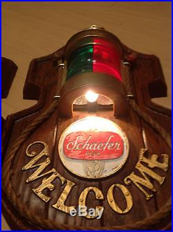 2 Vintage Schaefer Beer Nautical Welcome Red/Green Bar, Light Signs, Rare