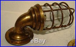 2 pcs Vintage Marine Wall Mount Brass Passage Light / Lamp Made in USA (B)