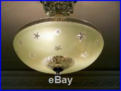 329 Vintage Nautical Maritime Ceiling Lamp Light Fixture STARS sky jadeite green