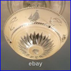 329b Vintage antique Ceiling Light Glass Shade Fixture Lamp Chandelier Nautical
