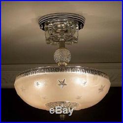 330 Vintage 40's Nautical Maritime Ceiling Lamp Light Fixture STARS soft pink