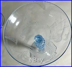 5 Vintage Light Blue Hand Blown Etched Nautical Theme 6 3/4 Champagne Stems