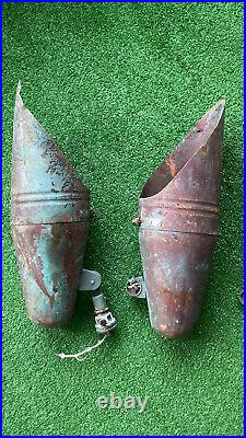 7 Vintage Mid Century Nautical Industrial Style Copper Outdoor Flood Lamp Light