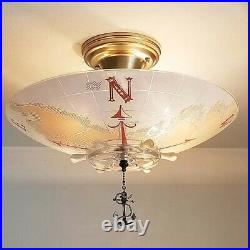 971 Vintage Nautical Glass Ceiling Light Shade Lamp Fixture chandelier antique