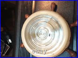 A PAIR Of VINTAGE COMPASS CEILING LIGHT FIXTURES NAUTICAL GLASS SHADE NICE RARE
