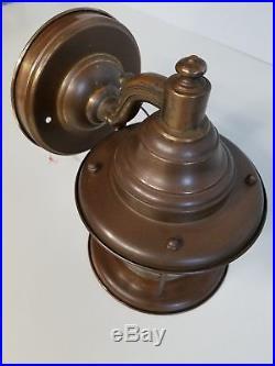 Antique 30s Vtg Outdoor Nautical Porch Light Sconce Fixture Marine Lantern Style