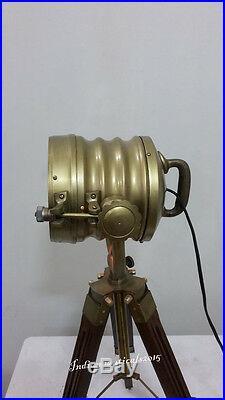Antique Brass Mini Small Desk Table Lamp Vintage Spot Light Teak Tripod