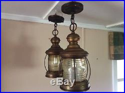 Antique Copper Nautical Hanging Lantern Porch Light Vintage 1 Of 2