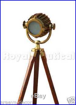 Antique Finish Spot light Tripod Nautical Teak Wooden Vintage Floor Lamp Decor