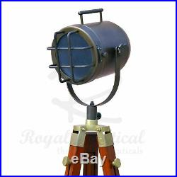 Antique LED Wooden Tripod Floor Lamp Nautical Spotlight Vintage Style Light