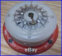 Antique Lightolier Nautical Compass Ceiling Light Fixture Chris Craft Boat Vtg