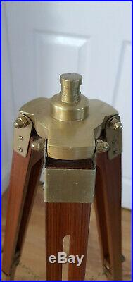 Antique Marine vintage Brown Shaded Nautical Spot Search Light Tripod Floor Lamp