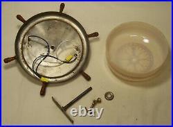 Antique Nautical Ceiling Light Ship Wheel Vtg Flush Art Compass Rewired USA #N51