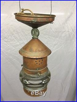Antique Nautical Copper Porch Light Ceiling Fixture vtg Thick Glass Globe 1-18J