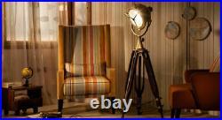 Antique Nautical Designer Floor SPOT LIGHT With Wooden Tripod Stand