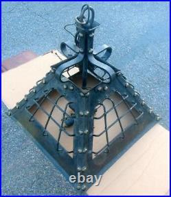 Antique SHIPS Light Fixture Iron Brass Studs MARITIME Sea Industrial Loft
