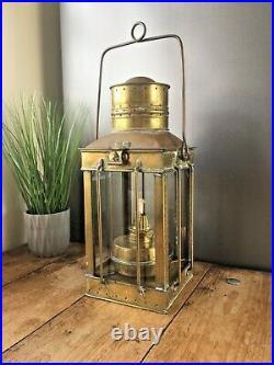 Antique Sherwood Of Birmingham Brass Nautical Ship Oil Burner Lamp Lantern Light