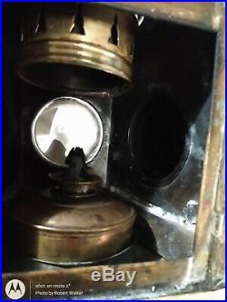 Antique Ship Bow Vtg Lantern signal Lamp light Brass 3 Lens Nautical blue red