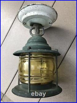 Antique Solid Copper Nautical Porch Light Fixture With Amber Glass Beautiful
