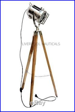 Antique Teak Wood Tripod Spot Light Vintage Nautical Search Light Replica