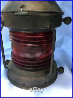 Antique Vintage B. Pedersen Oil Lamp Navigational Ship Lights