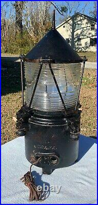 Antique Vintage Brass Lovell U. S. Light House Service Light Ship Glass Light