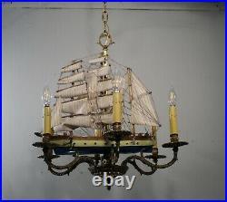 Antique Vintage Bronze Chandelier 6 Light Ship Boat Nautical Ceiling Fixture