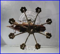 Antique Vintage Bronze Chandelier 8 Light Ship Nautical Ceiling Fixture Lamp