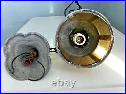 Antique Vintage Hanging Porch Ceiling Light Lamp, Nautical Look, Slag Glass