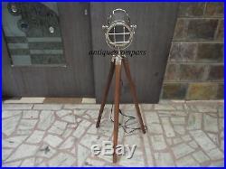Antique Vintage Industrial Designer Nautical Spot Light Tripod Floor Lamp Decor