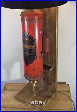 Antique/Vintage Red Fire Extinguisher Industrial/Steampunk Table/Desk Lamp/Light