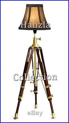 Antique Vintage Wooden Tripod Floor/Standing Lamp Steampunk/Industrial Lighting