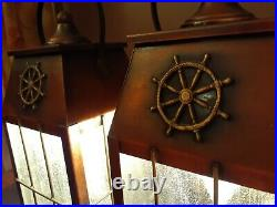 Antique/Vtg Copper Nautical Lantern Light Sconces Fixture/Lamp, Set-Pair, Mid C