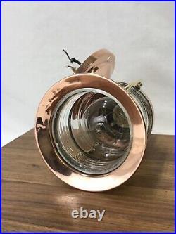 Antique Vtg Nautical Copper & Brass Sconce Ship Lantern Wall Mount Porch Light