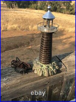 AntiqueVintage c1930 Brass Lighthouse Accent LampNautical Night Light (D5)