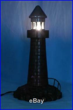 AntiqueVintage c1930 Brass Lighthouse Accent LampNautical Night LightVGC
