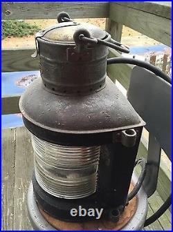 Beautiful Large Vintage Brass Ship Lantern Light, Nautical, Boat
