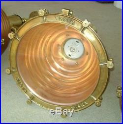 Beautiful Lot Of 4 Vintage Copper Brass Wiska Hanging Pendant Beehive Lights