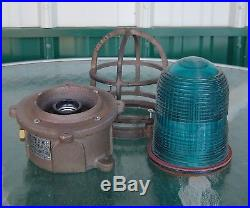 Beautiful Teal Blue Vintage Ship's Helicopter Pad Nautical Ceiling Deck Light