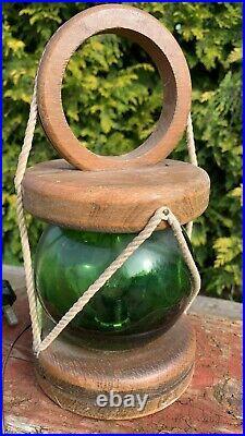 Beautiful Vintage Wood & Green Glass Ekectric Table Lamp Light