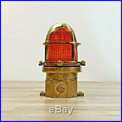 Beautiful orange/yellow Vintage Ship Helicopter Pad Nautical Ceiling Deck Light