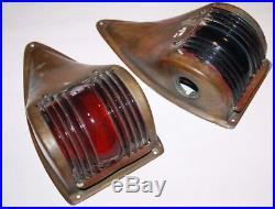 Beautiful set vintage bronze Perko style navigation lights unrestored