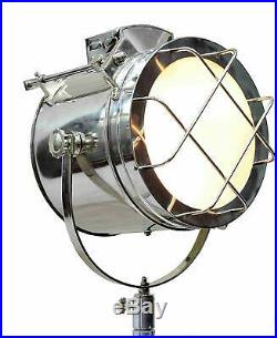 Brass Nautical Vintage Marine Tripod Floor Lamp Search light Cinema Studio Decor